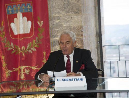Premio Bandiera di Gubbio al Prof. Giuseppe Sebastiani e a Massimo Columbu (allevatore del cavallo Remorex)